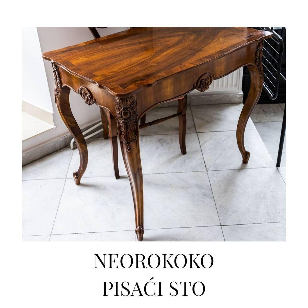 "Antikvarnica Voulez - Vous Art on Instagram: ""Neorokoko pisaći sto. Urađena politura.  Dimenzije: 95 x 63 cm, visina: 77 cm. Voulez - Vous Art antikvarnica & galerija #antiquedecor…"""