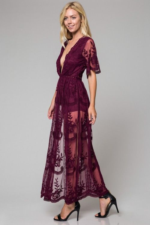 1435b1fa9526 Light Mauve Lace Maxi Romper Dress in 2019