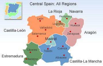 Map Of Central Spain.Central Spain Map Spain Castilla Leon Extremadura Spain