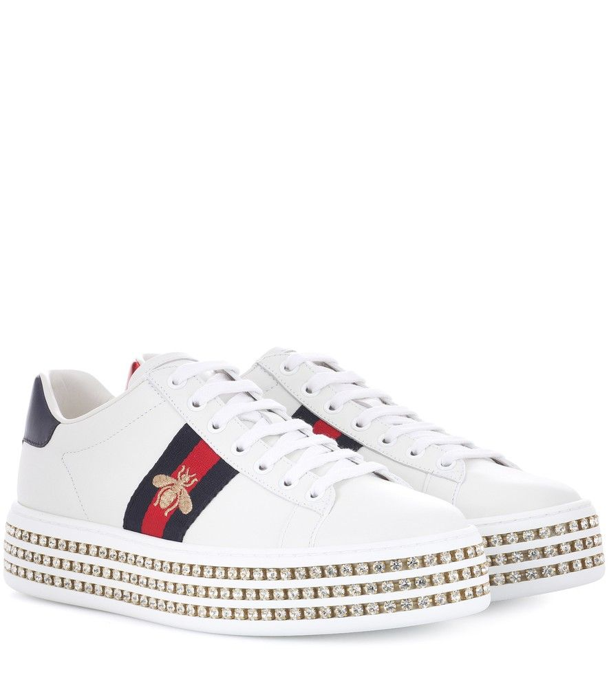 2f5390ec7d5d Gucci - Ace platform leather sneakers - Gucci s Ace sneakers get a   90s-inspired update this season with a platform rubber sole that s  embellished with rows ...