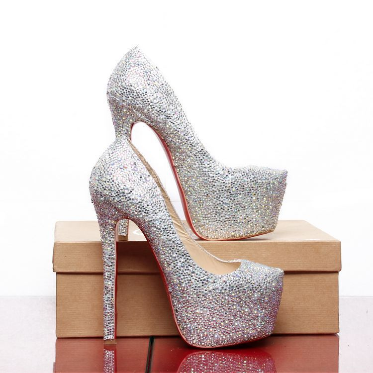 Brand Women Red Bottom Shoes Rhinestone High Heels Platform Pumps Dress Wedding Heel 14