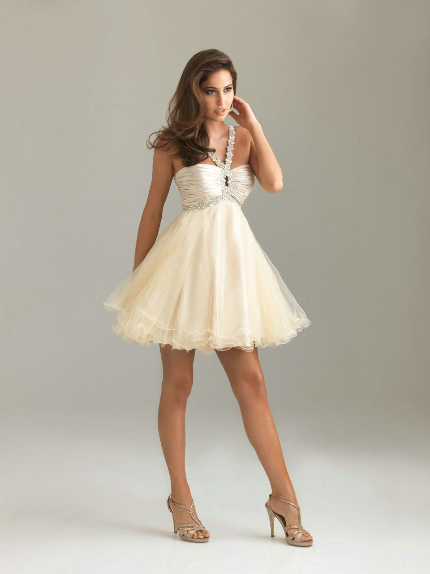 Sweetheart Ruched Beading Short Empire Champagne Prom Dress Stores ...