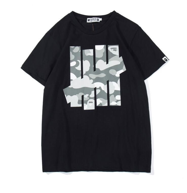 2802a7bc Fashion Men's Japan Bape Grey Camouflage Shark Jaw A Bathing Ape T-shirt  2Color -