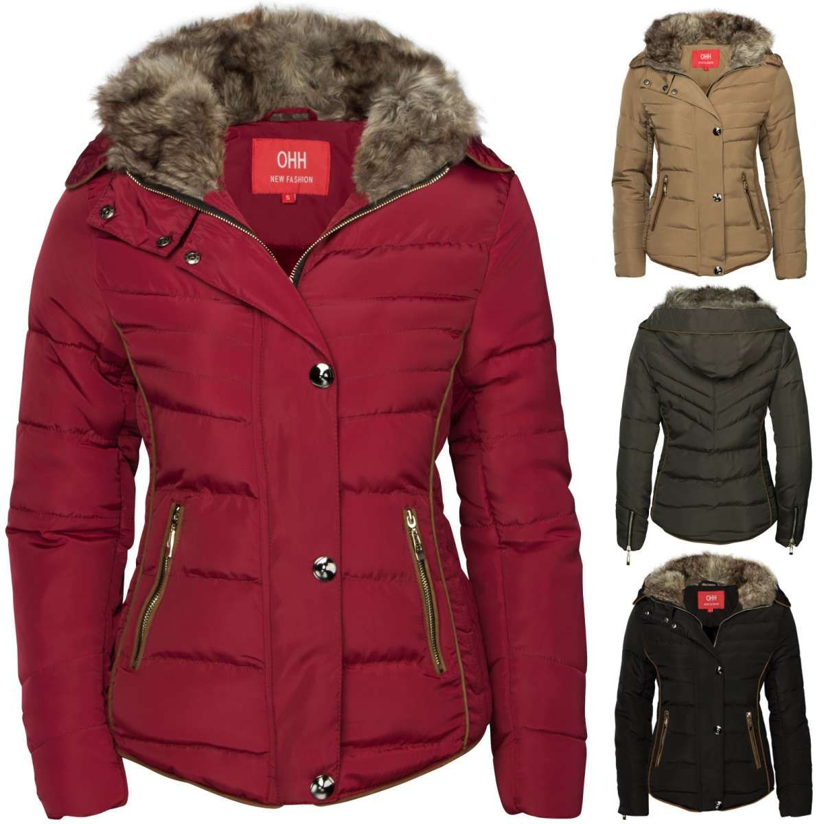 Daunen winterjacke damen mit fell