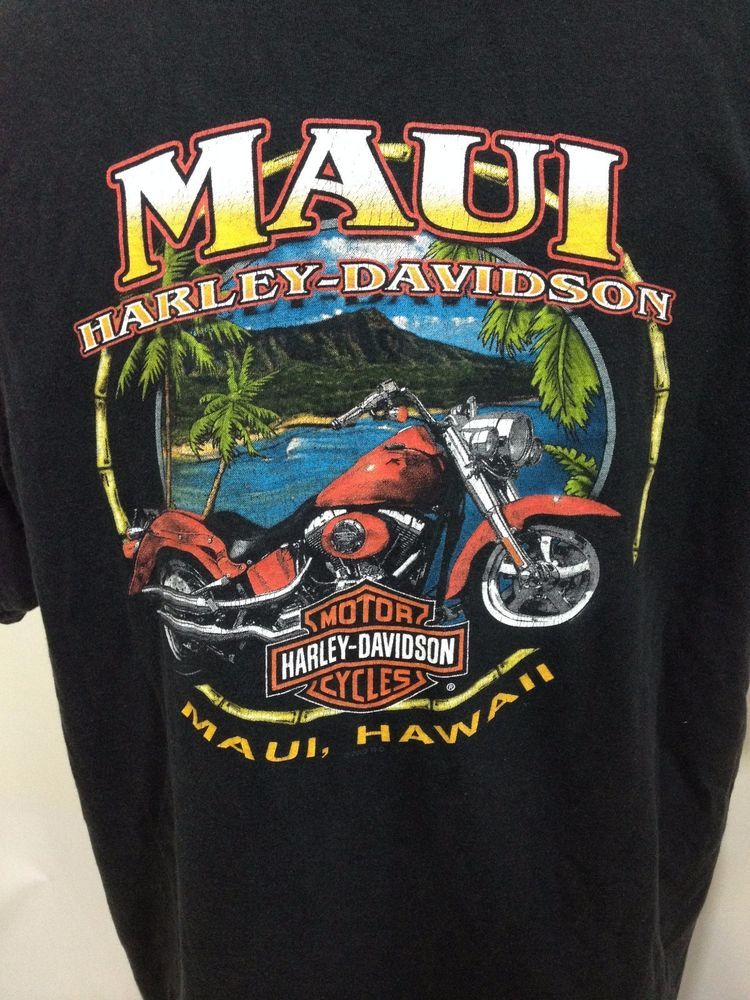 3f08a1b327f7 Harley Davidson Motorcycles Black Pocket Tee T-Shirt Mens XL Maui Hawaii # HarleyDavidson #GraphicTee