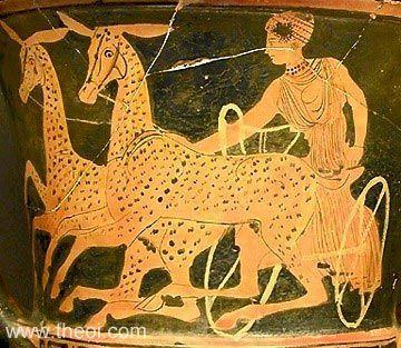 Artemis driving a chariot of deer | Greek vase, Lucanian red figure krater