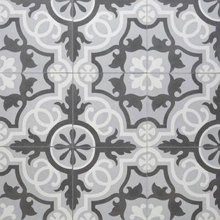 Sabine Hill Cement Encaustic Tile Sevilla Shown In White Grey Charcoal Lends