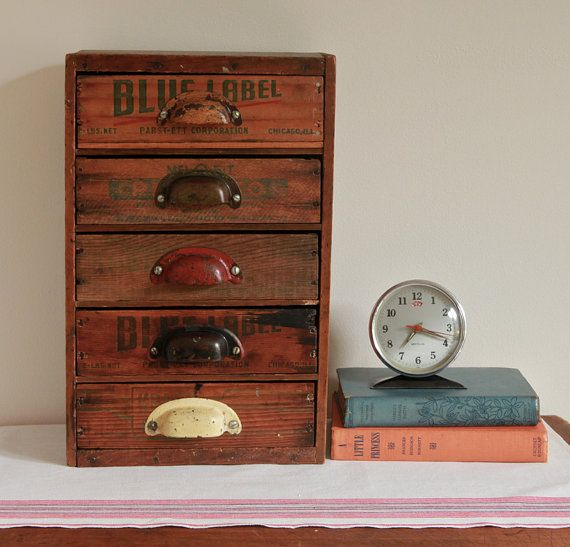 Multi Drawer Desk Organizer From Repurposed Vintage Cheese Bo
