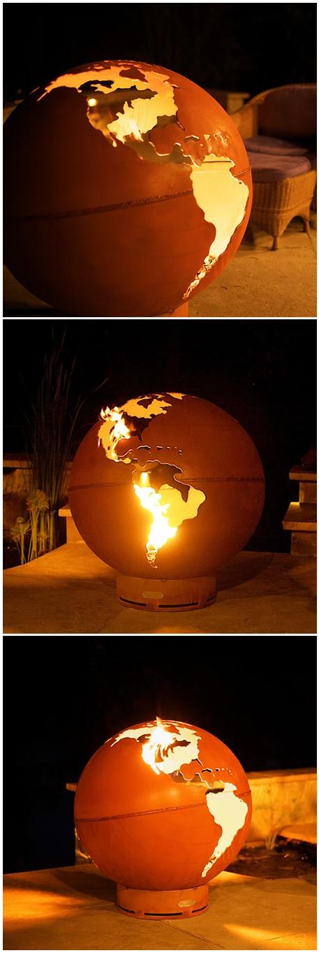 Gas burning fire pit globe