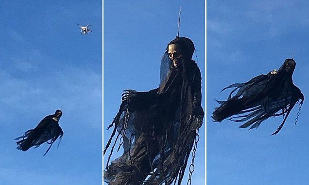 Michael Irvine, 50, created the spooky creation by attaching an old Halloween decoration to a drone. Video footage shows the ghoul flying around near their home in Peshtigo, Wisconsin.