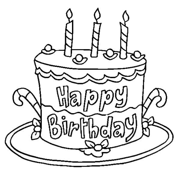 Birthday Card Coloring Pages: Happy Birthday Coloring Pages Cake