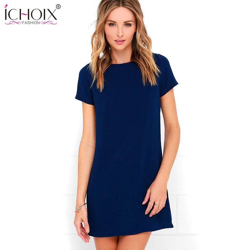 15895e6b6e7c9 ICHOIX 2017 Women s Chiffon Short Sleeve O Neck Mini Dresses Plus Size Sexy  Party Dress Summer