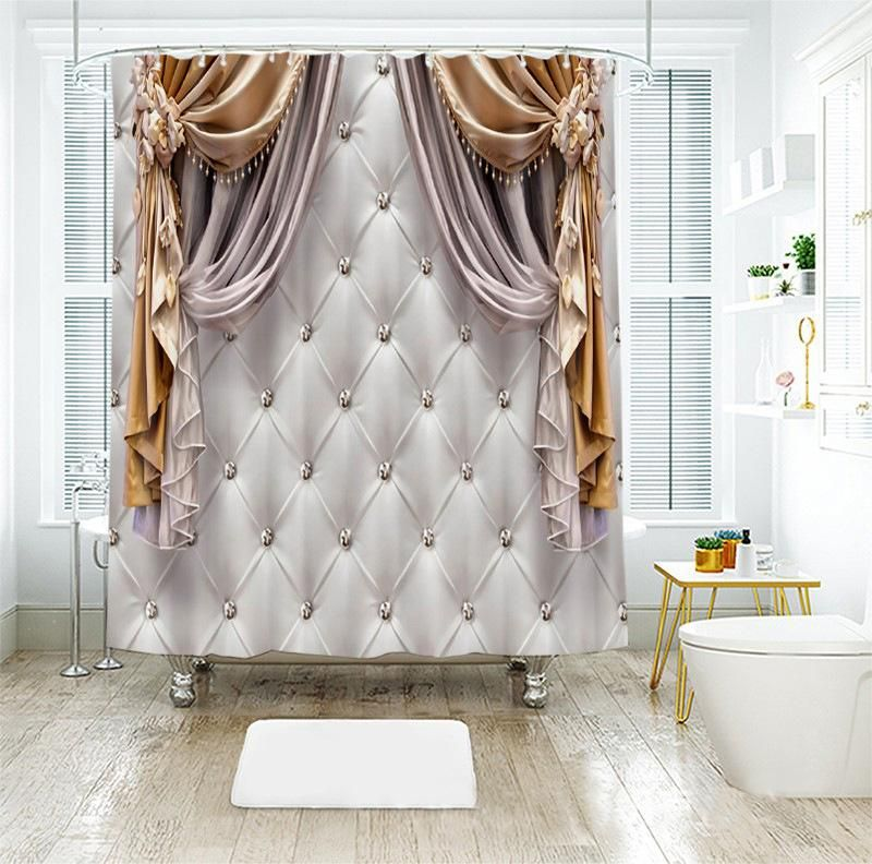 Dimensional Luxurious Shower Curtain Style Modern Feature Eco