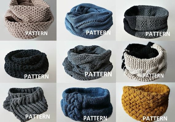 KNITTING PATTERN 9 PDF Patterns Knit Infinity Scarf Pattern Cowl ...