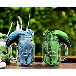 Mr and Mrs Personalized Mason Jar Mugs 16 oz, Mr and Mrs Glasses, Wedding Gift Ideas, 1st Anniversary Gifts, Valentines day Gifts, Birthday Gifts
