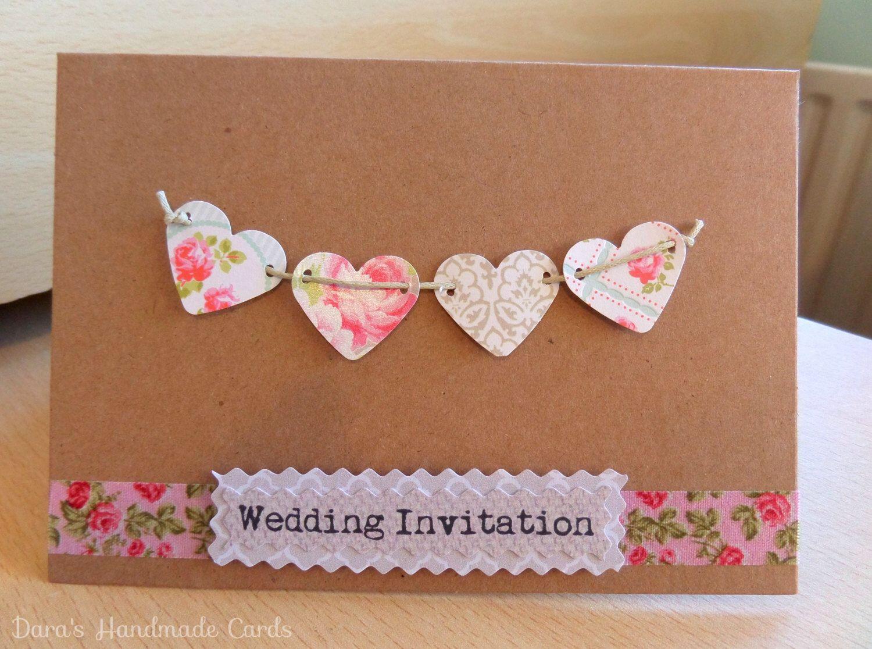 Handmade Rustic Hearts Wedding Invitations by DarasHandmadeCards on Etsy https://www.etsy.com/listing/221865616/handmade-rustic-hearts-wedding