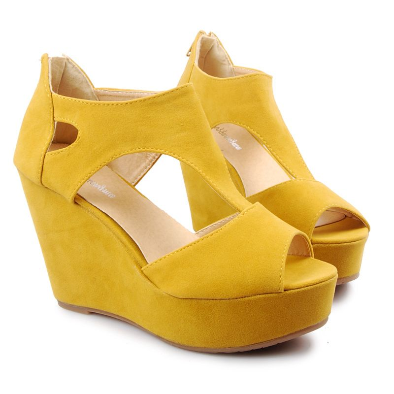 7280b1555b4 bridesmaid shoes yellow wedges - Google Search