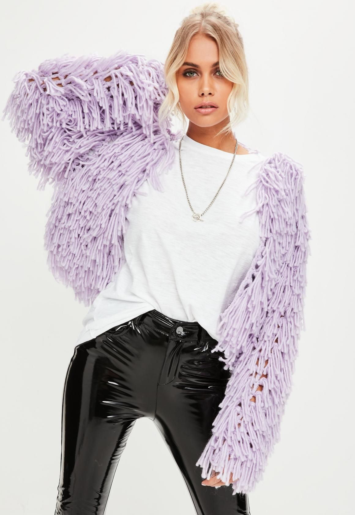 4b47b6be27f568 Missguided - Lilac Shaggy Crop knitted Cardigan