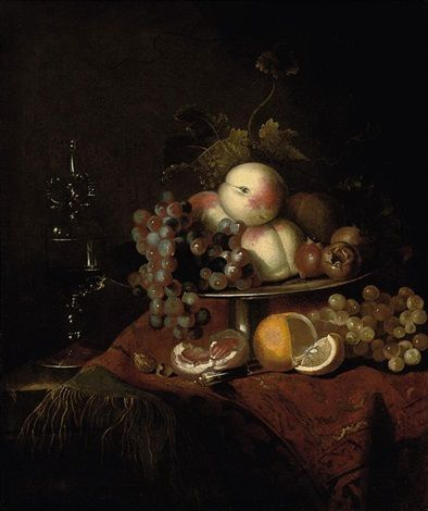 Barend Van Der Meer Dutch B Ca 1659 D Ca 1702 Title Peaches Grapes And Pomegranates On A Plate A Sliced Orange And Waln Pomegranate Grapes Wine Glass