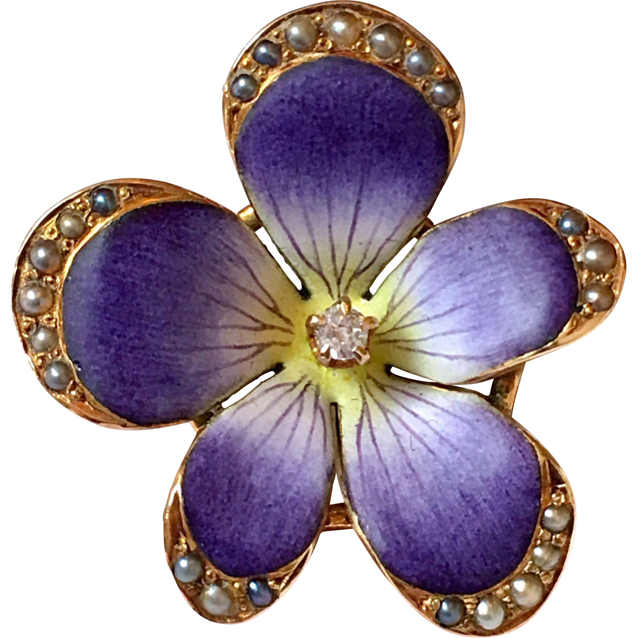 violet an enamel diamond spray first brooch a the and pin circa flower