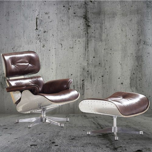 NEW-Vintage-Leather-Aluminum-Aviator-Metal-Eames-Style-Lounge-Chair ...
