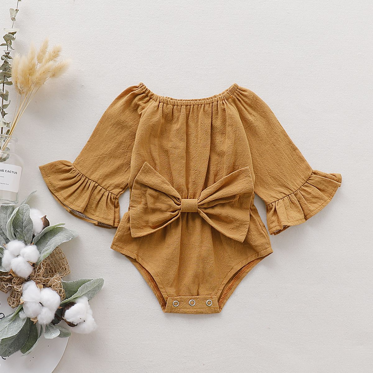 Baby Girl Fashionable Solid Style Bowknot Decor Lo