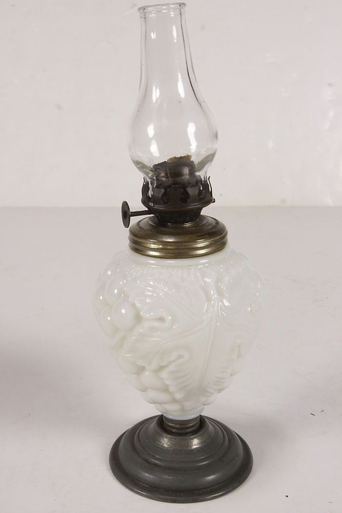 Vintage Milk Glass Miniature Kerosene Oil Lamp With Embossed Gclusters And Leaves Designs Total Height Base And Hurricane Shade Together