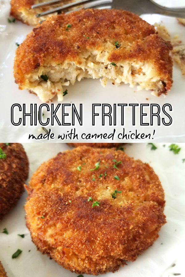 Crispy Chicken Fritters! A simple 5-ingredient recipe for crispy chicken fritters or croquettes made with all-white canned chicken. Easily shape into smaller portions for kid-friendly homemade chicken nuggets. #chickenfritters #cannedchicken
