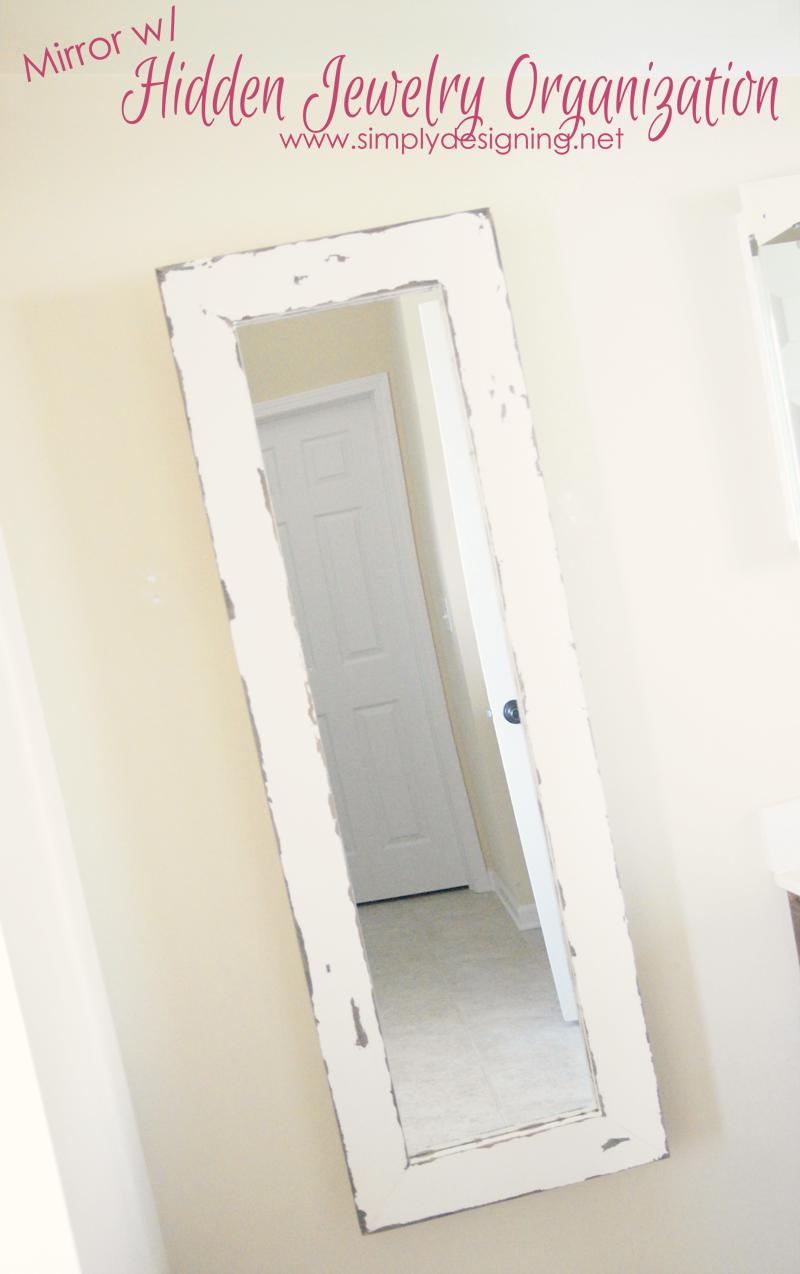diy framed mirror with hidden jewelry organization | jewellery