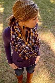 plaid scarf, plum shirt and boots