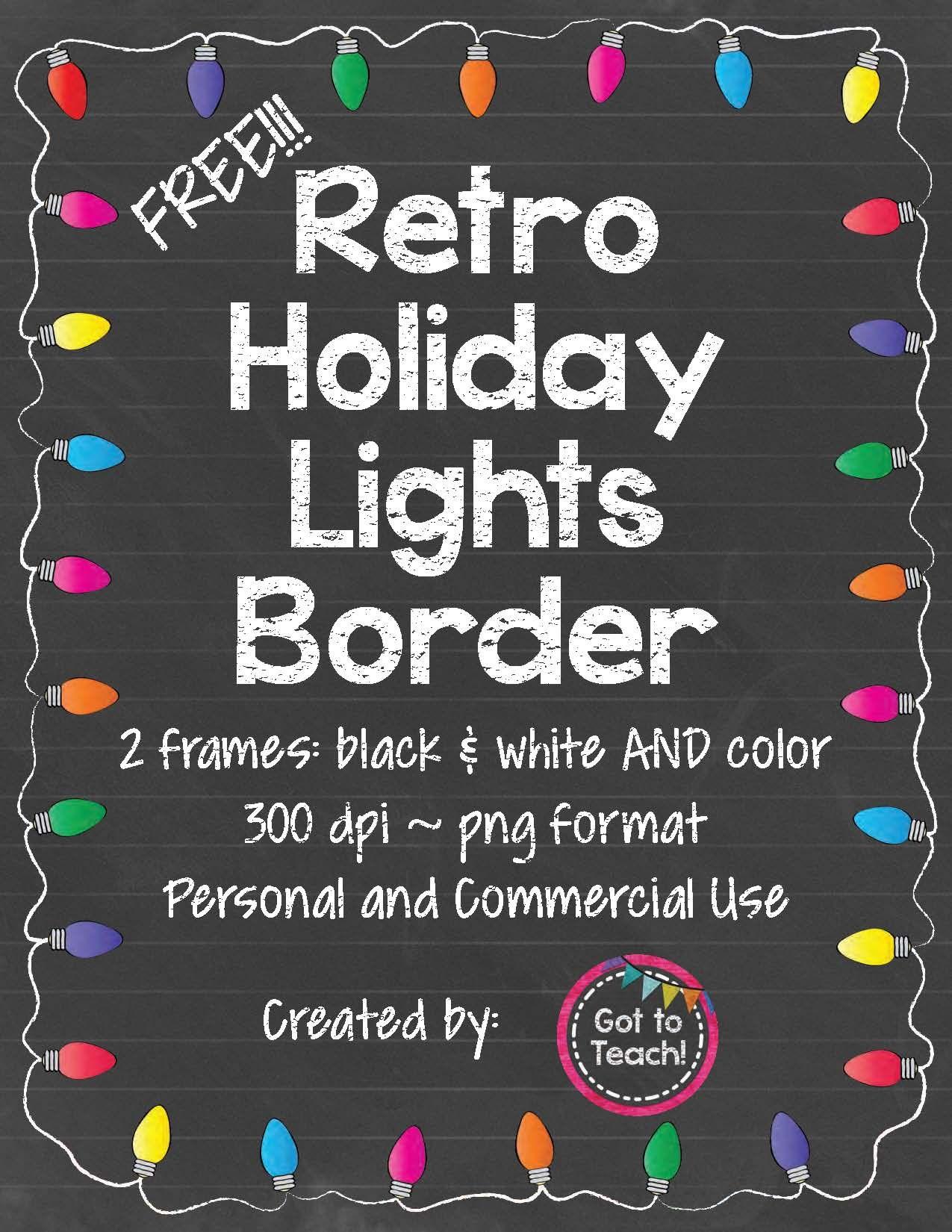 Free Retro Holiday Lights Border Clip Art Freebies Holiday Lights Christmas School