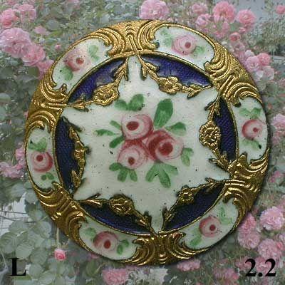 4 MERCERIE ANCIENNE  BOUTON ovale rose et or 1 cm