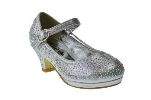 a13612e4c0f Dana 53K Little Girls Rhinestone Heel Platform Dress Pumps Silver 3 Link  http