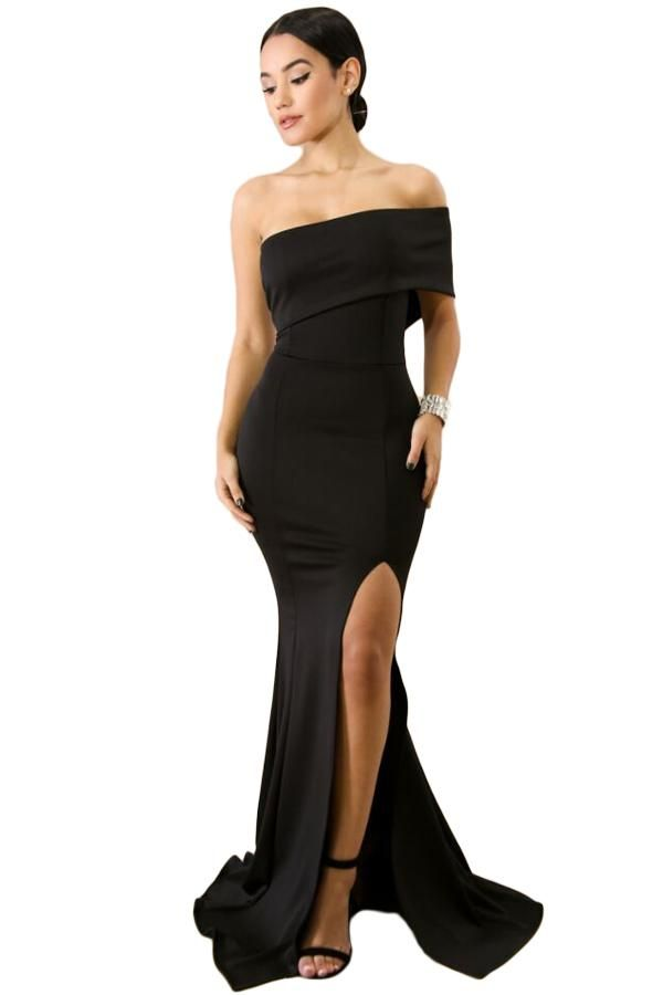 4b145a302ea3f Black Off The Shoulder One Sleeve Slit Maxi Party Prom Dress ...