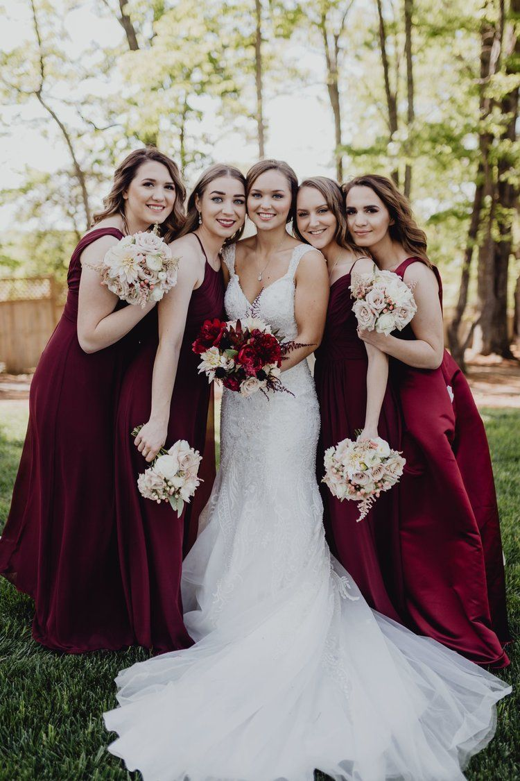 North Texas Wedding Florist Dfw Florist David Co Wedding Florals Red Bridesmaid Bouquet B Maroon Wedding Red Bridesmaid Bouquets Red Wedding Flowers