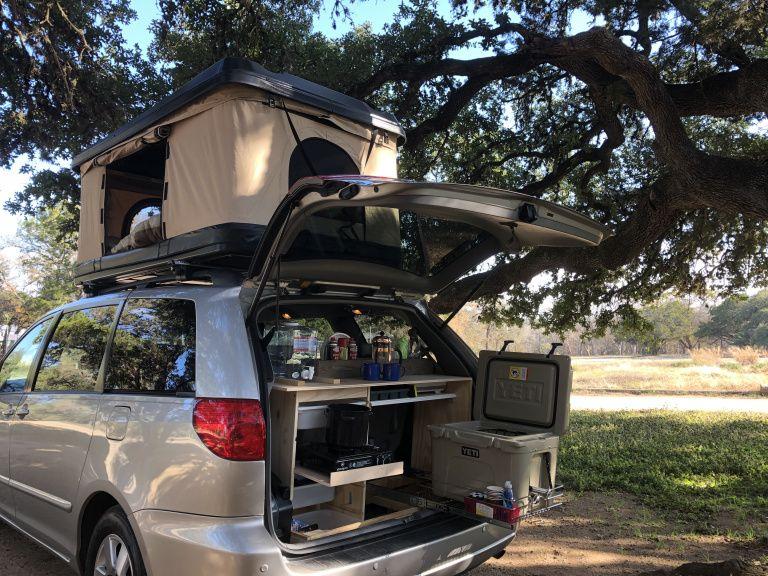 Camp With A Van Fully Equipped Minivan Camper Rentals In Austin Tx Mini Van Minivan Camping Minivan Camper Conversion