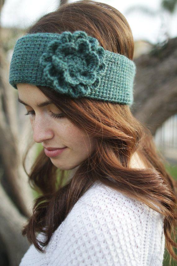 Crochet Pattern - Flower Tunisian Ear Warmer/Headband - Instant ...