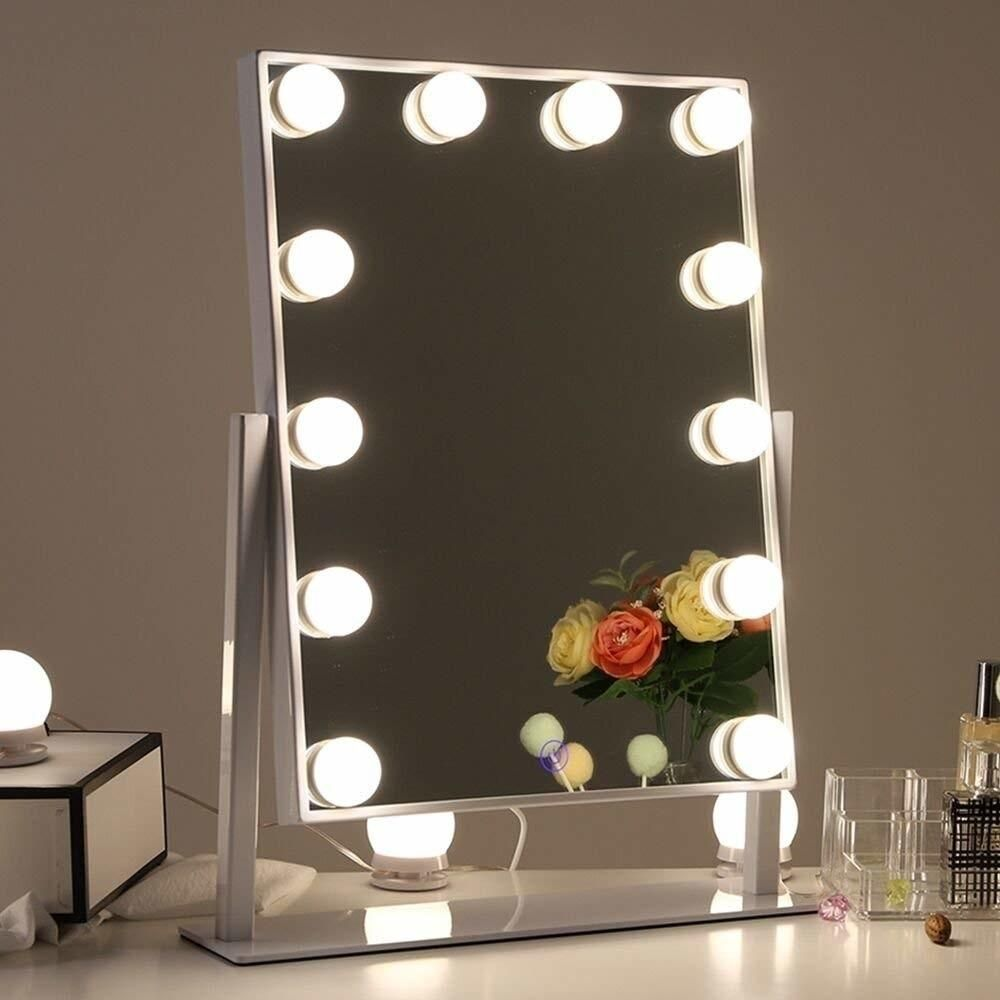 Chende Hollywood Table Top Makeup Mirror Vanity Mirror With 12 Led Dimmable Bulb Makeup Mirror With Lights Hollywood Mirror With Lights Mirror With Lights