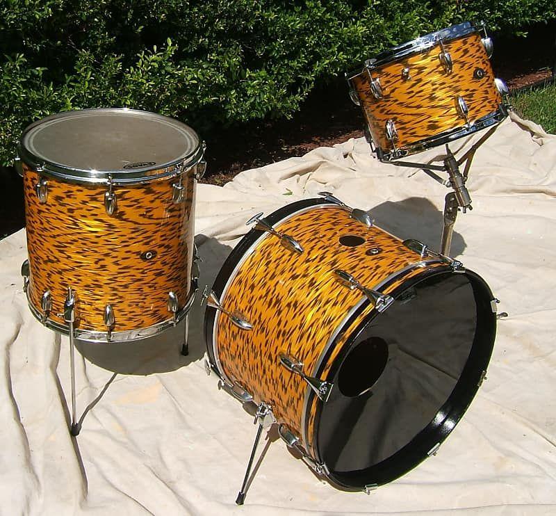Slingerland 3 Pc Set 1968 Yellow Tiger Pearl Slinger Land Drums