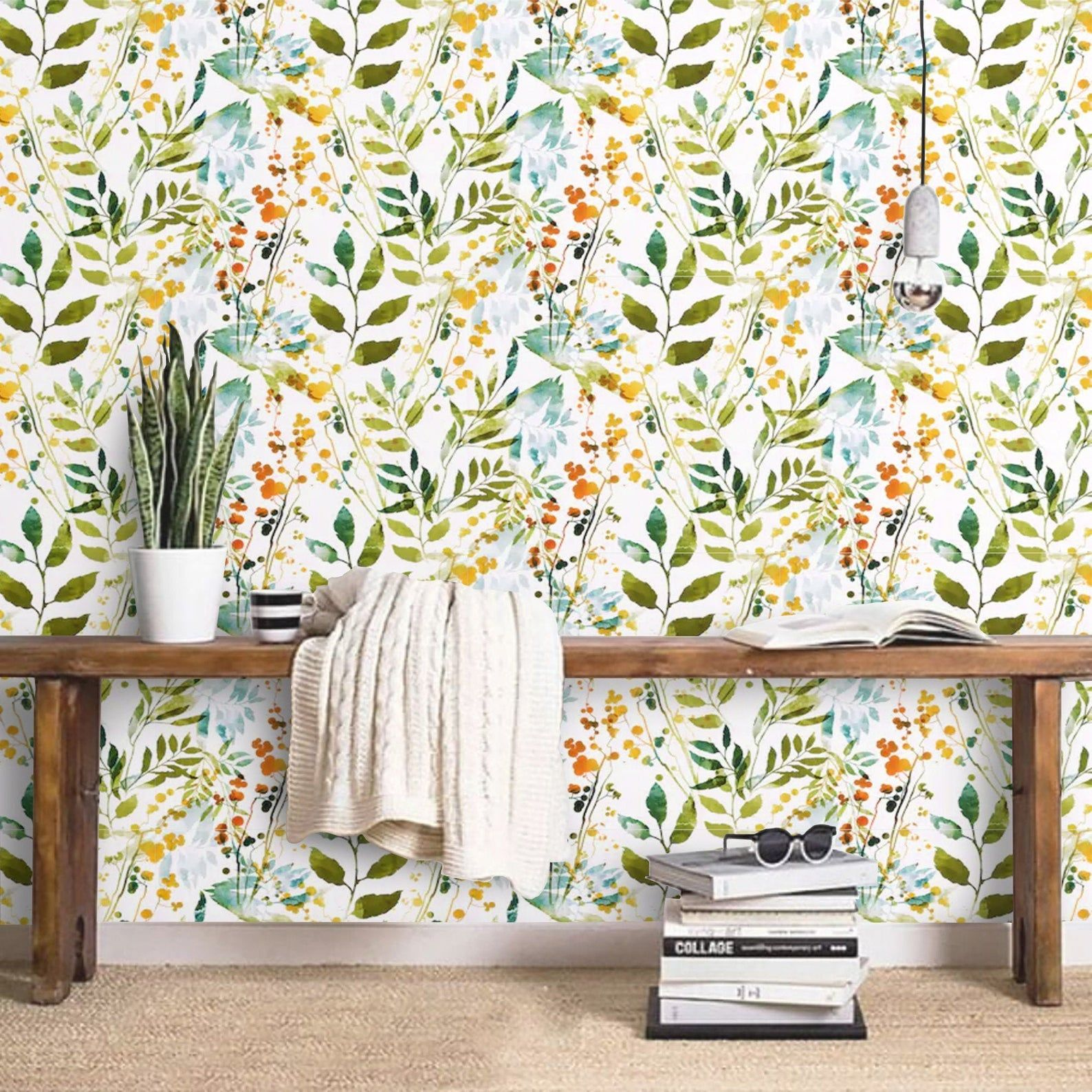 Wallpaper Watercolor Spring Garden Peel And Stick Green Leaves Etsy Peal And Stick Wallpaper Spring Garden Removable Wall