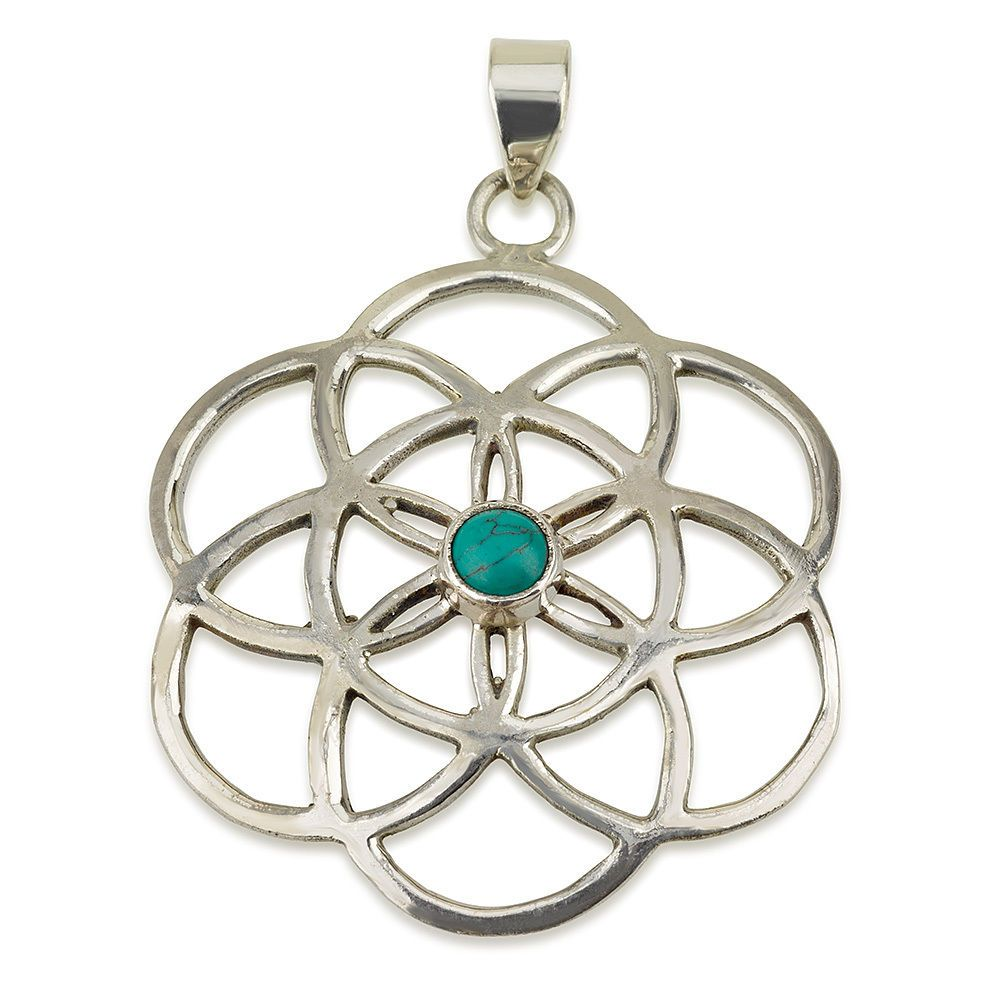 "Seed of Life Pendant with Turquoise Stone Sterling Silver 925 Size 1.5"" Yoga #MAGAYA #Pendant"
