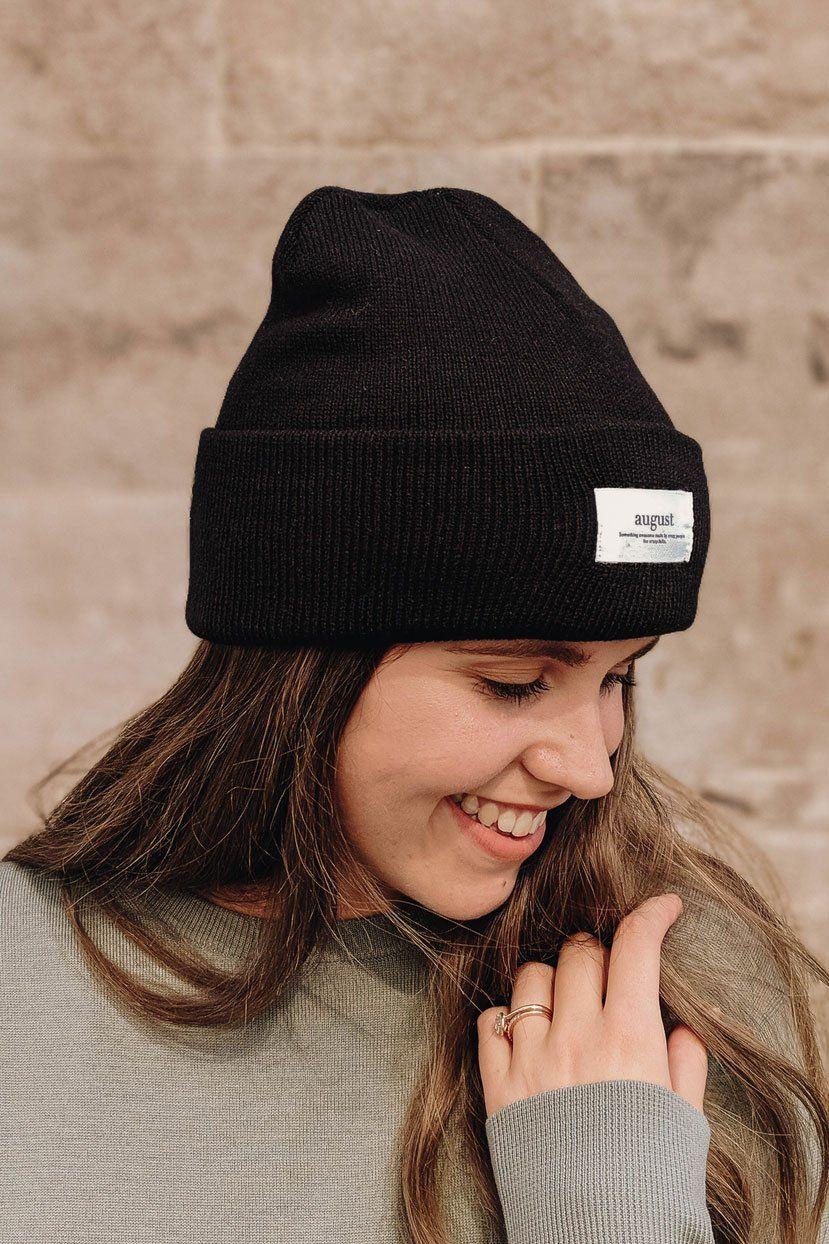 Teens black beanie Womens knit black hat Hand knit black beanie Black wool mix beanie Knitted wool mix beanie