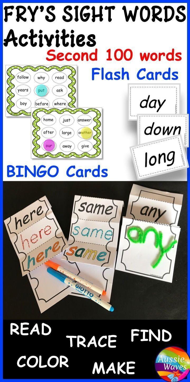 Fry's Sight Words Activities and Bingo Games SECOND LIST