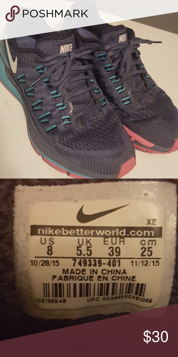 833ba7e520da Nike Air Zoom Super cute blue and pink Nike zoom gym shoes Women s size 8 Nike  Shoes Athletic Shoes