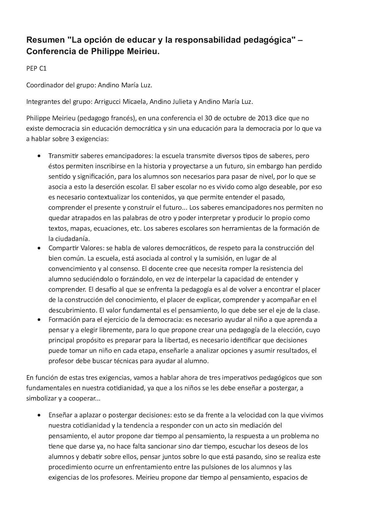 Resumen La Opcion De Educar Y La Responsabilidad Pedagogica Conferencia De Philippe Meirieu Pedagogica Resumen Estado Democratico