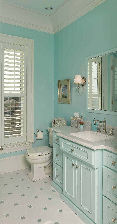 Coastal bathroom - Beautiful Aqua And White Bathroom Coastal