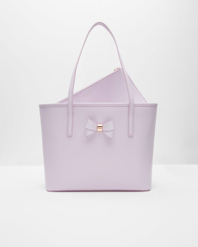 5001553d622 Small bow detail leather shopper bag - Lilac | Bags | Ted Baker Ted Baker  Tas