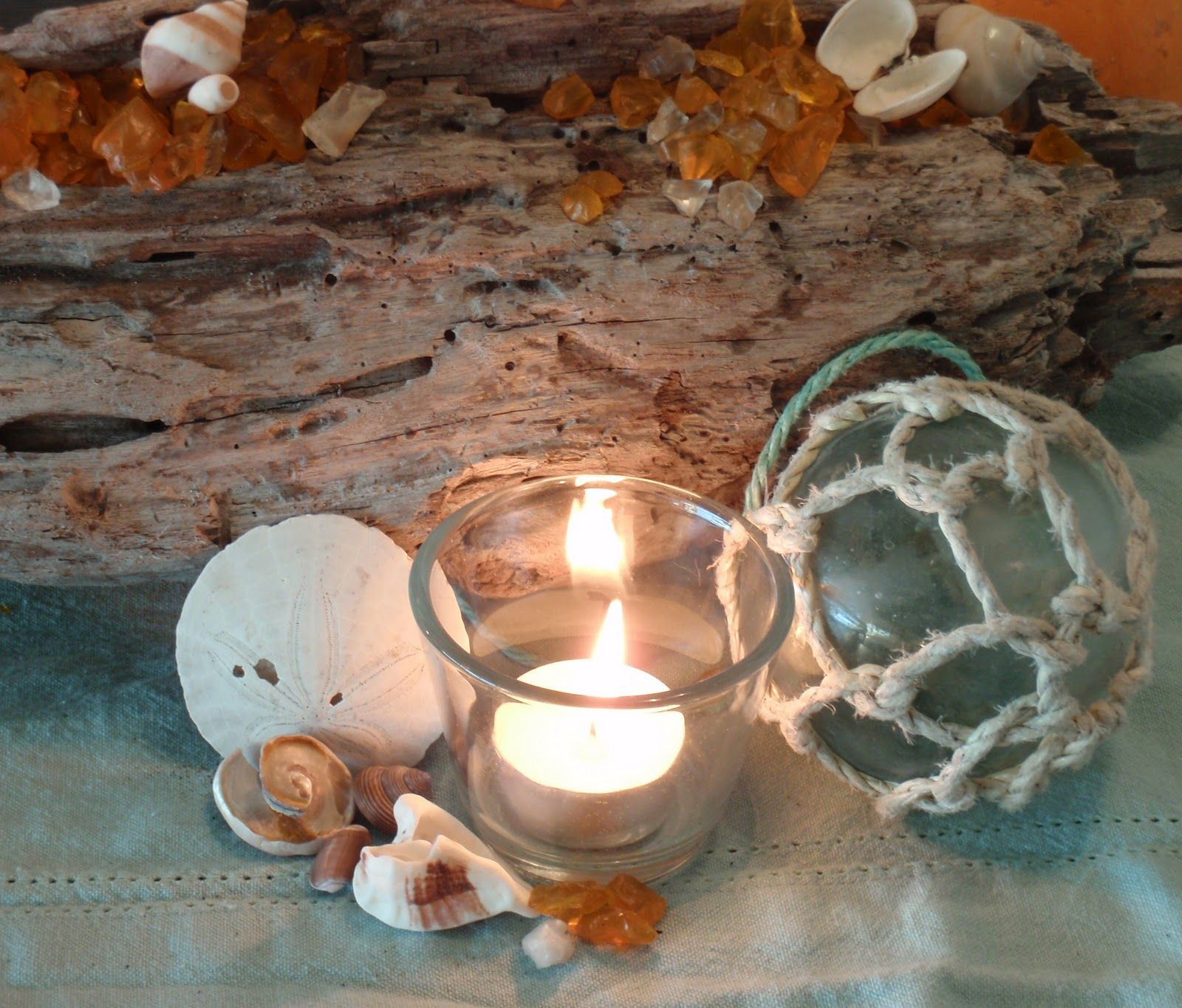 Coastal centerpiece with found driftwood and shells