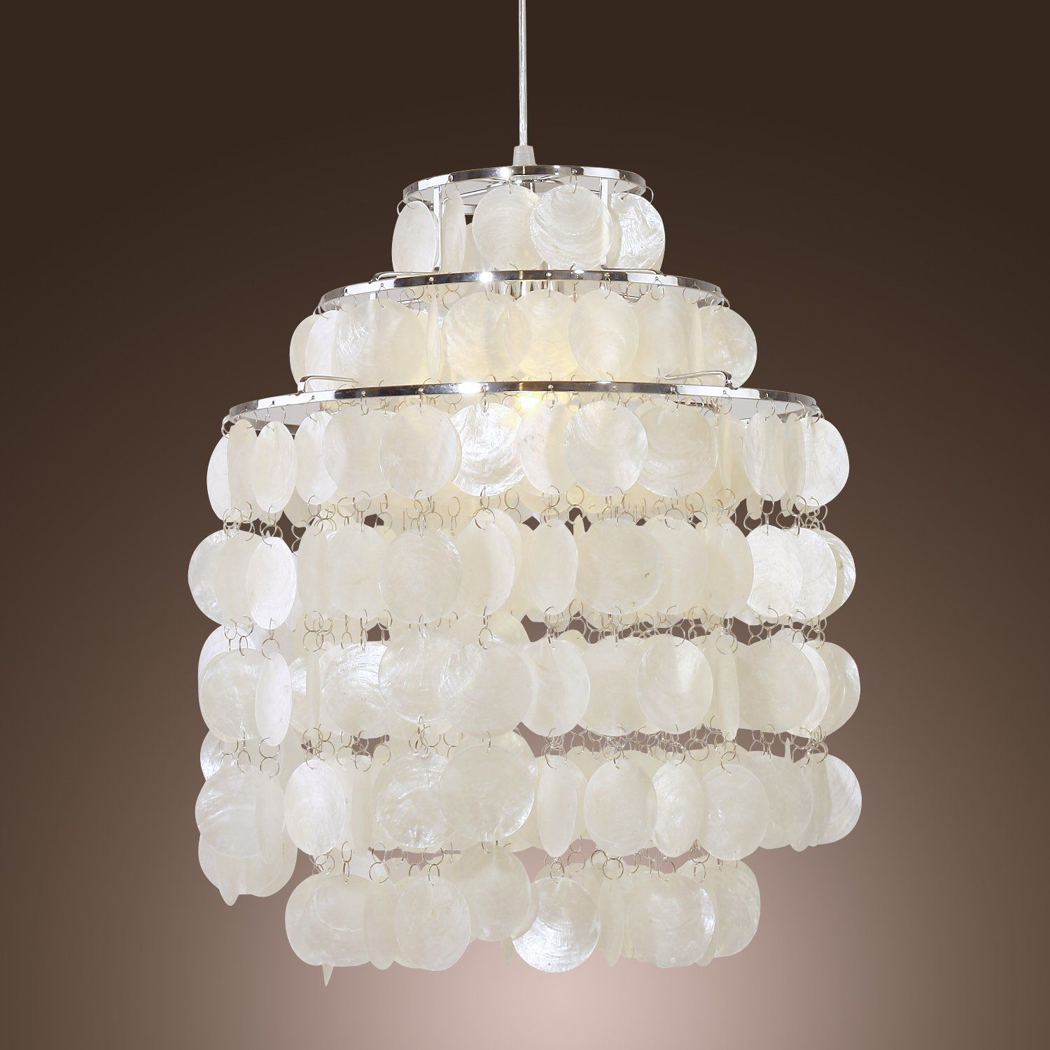 lamp ouku white shell pendant chandelier e26 for bedroom living