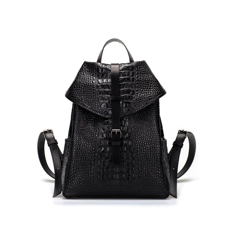 Little black croc leather backpack.